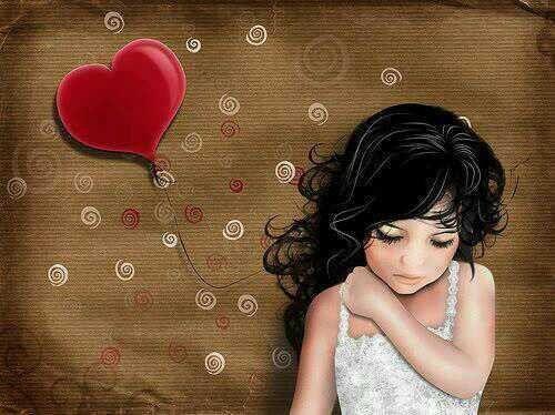 Niña triste con un globo de corazón y miedo al amor