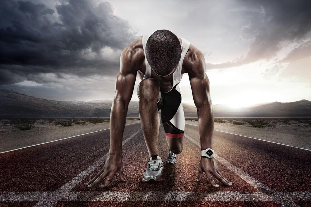 hombre preparado para correr