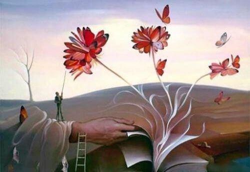 Liibro con flores en referencia a JorgeLuis Borges