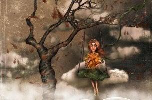 Mujer en un columpio con heridas emocionales de la infancia