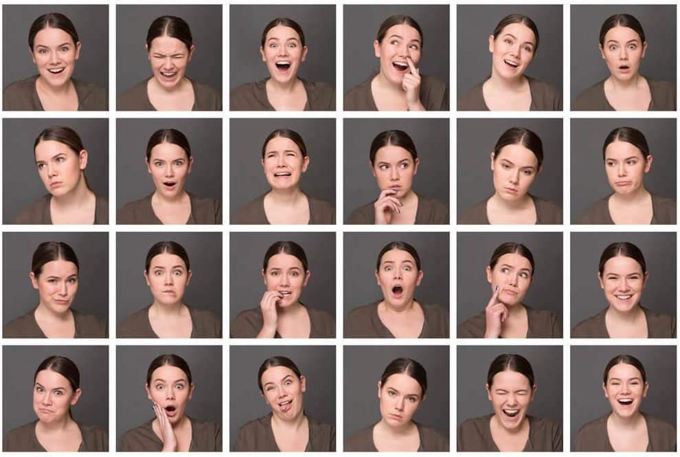 Mujer expresando emociones con varias caras