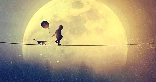 Niño sobre cuerda con gato