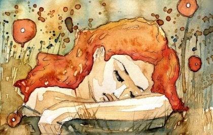 Mujer triste por intoxicación emocional