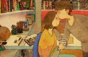 Hombre dándole un beso a su mujer en la frente