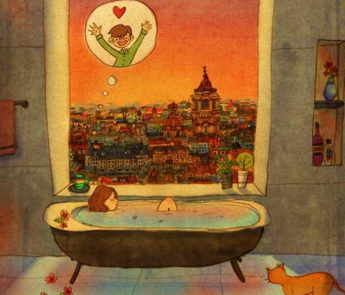 Mujer d´dandose un baño pensando en su chico
