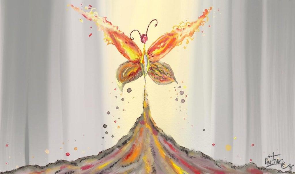 Mariposa simbolizando vida