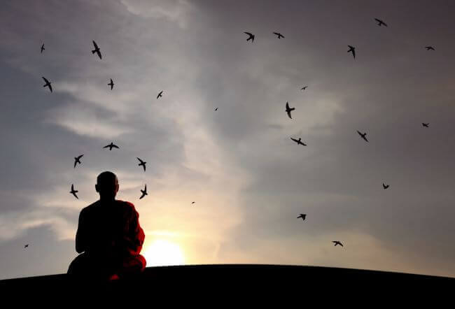 Monje budista practicando el Dharma