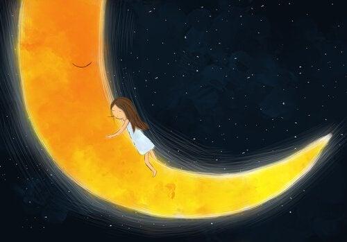 Niña abrazada a la luna que ha pasado malos momentos
