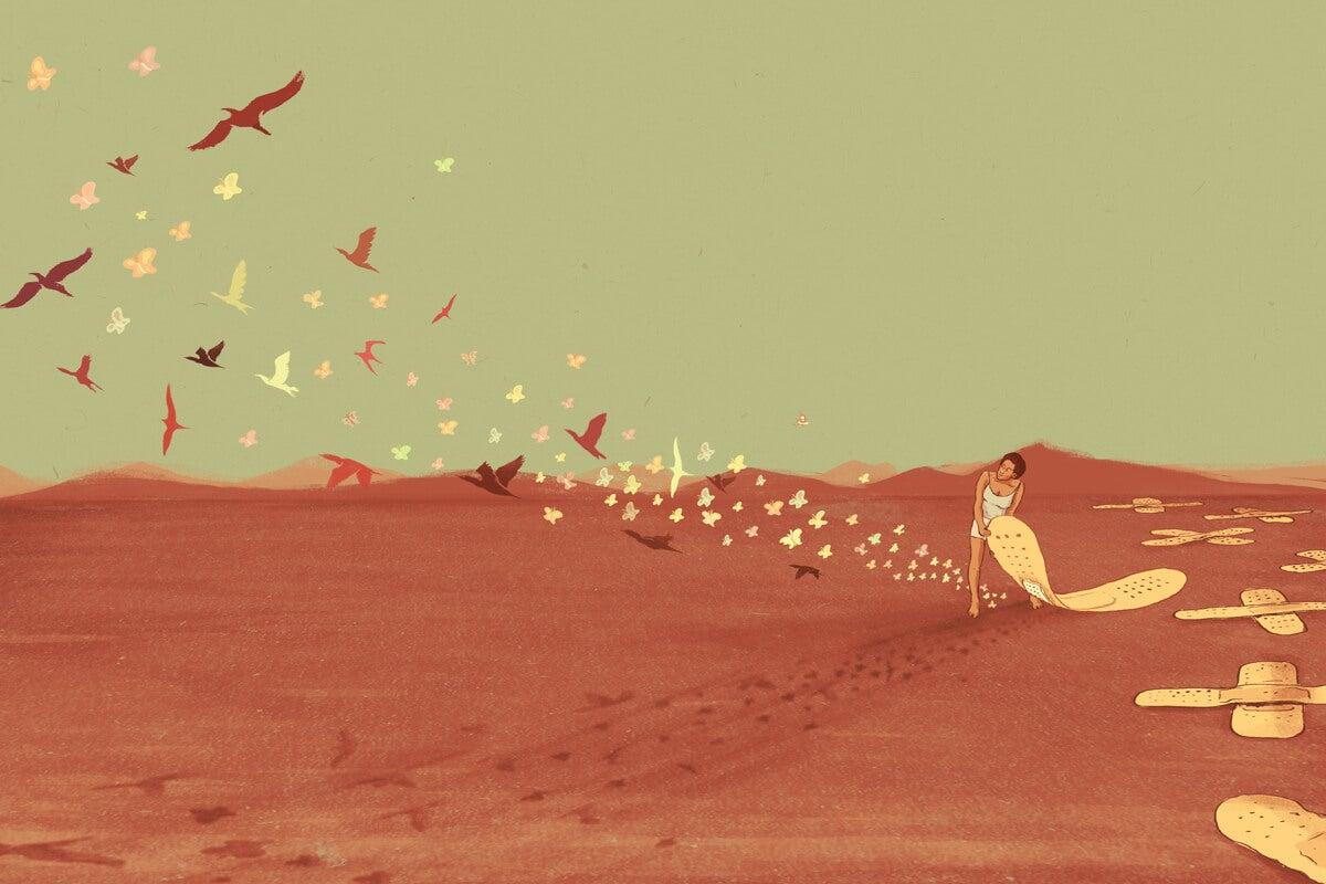 Mujer en el desierto