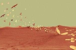 Mujer despegando una tirita del suelo de la que salen mariposas