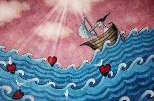 Mujer en una barca buscando su libertad emocional