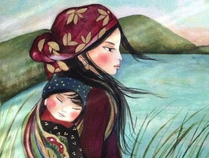 Mujer con su hija siguiendo las enseñanzas de María Montessori