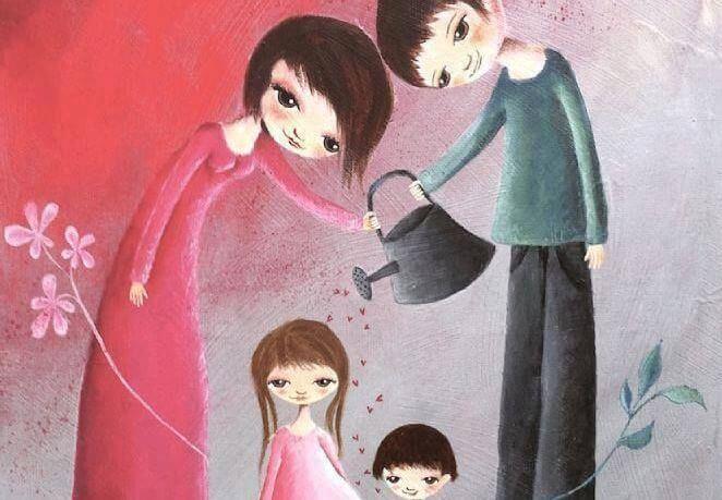 Padres regando a su hijos como símbolo de familia