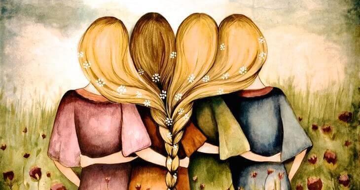 Hermanas abrazadas con los pelos unidos por una trenza