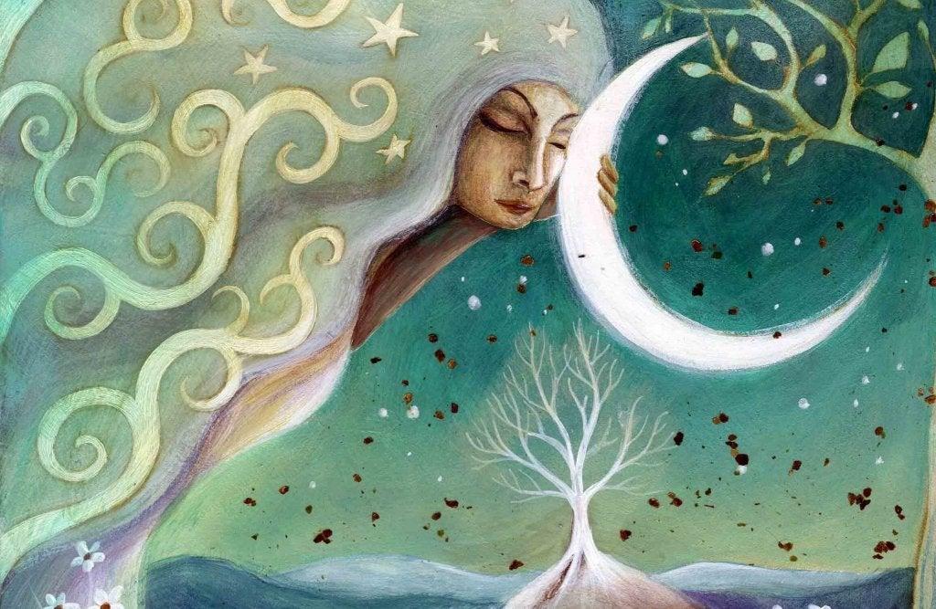 Mujer agarrada a la luna