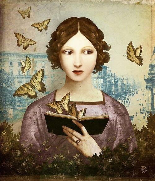 Mujer leyendo un libro sobre psicología en el que salen mariposas