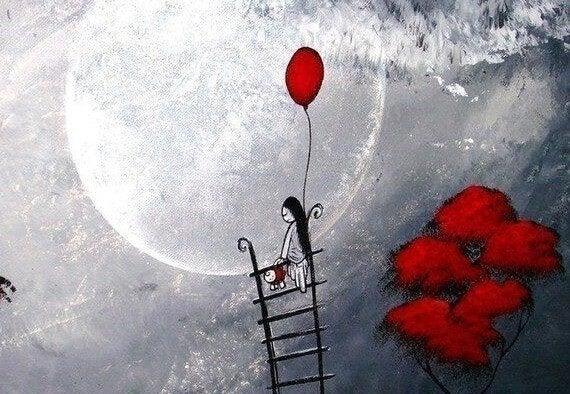 Niña triste subida a una escalera cerca de la luna con un globo rojo