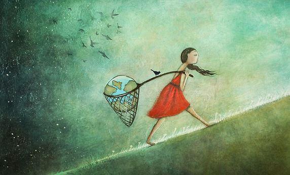 Chica cargando con el mundo