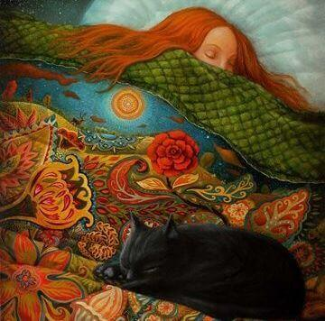 Chica dormida junto a su gato