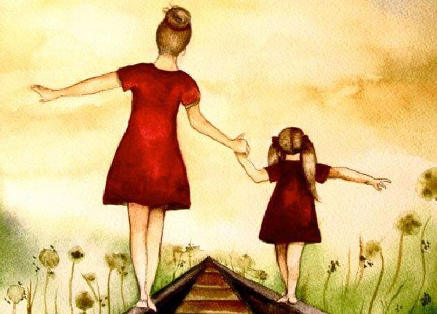 madre e hija andando por las vías del tren agarradas de la mano