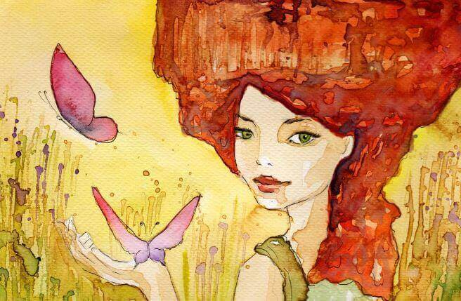 Mujer conm a´s de 40 años y una mariposa