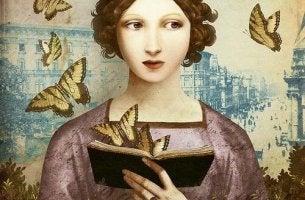 Mujer leyendo un libro sobre psicologia