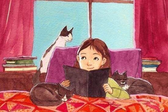 Niña leyendo un libro rodeada de gatos