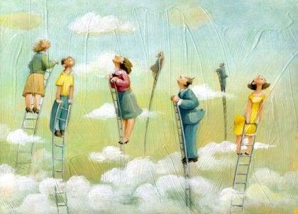 gente mirando al cielo representando la filosofía de Slavoj Žižek