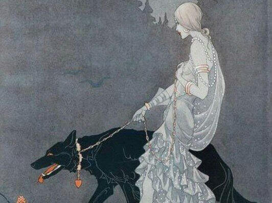 Mujer paseando a un lobo con collar