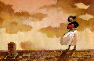 Mujer abrazando un corazón sin querer olvidar