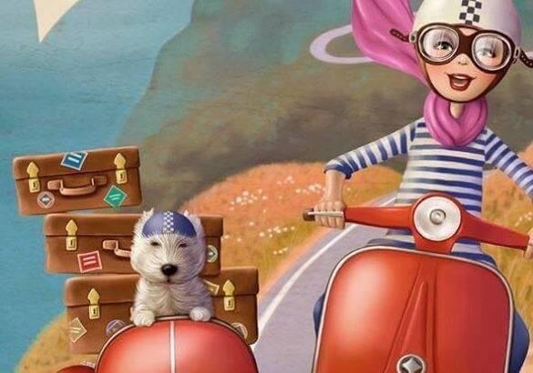 Mujer en una moto con su perro