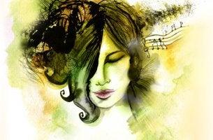 Mujer escuchando música y desarrollando su inteligencia musical representando su vida