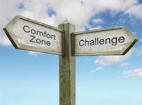 Cartel con dirección de zona de confort y cambio