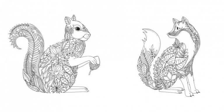 Dibujo de una ardilla y un zorro