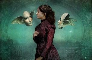 Mujer rodeada de caras