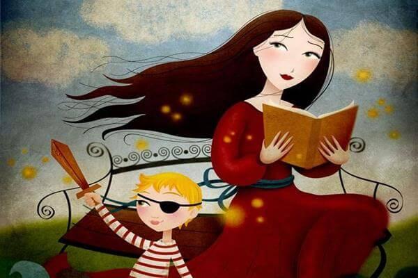 madre con su hijo leyendo un libro