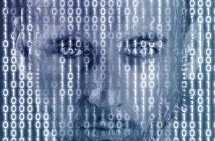 Hombre en realidad virtual representando Matrix