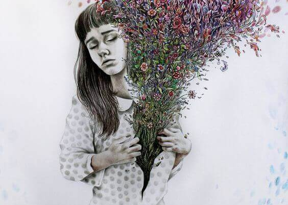 Mujer con flores en el pecho símbolo de humildad