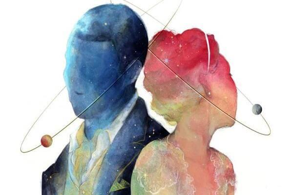 Perfil de pareja en rosa y azul