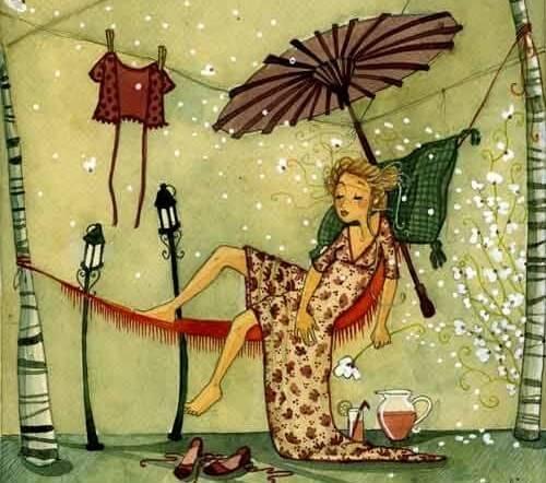 Mujer tumbada en con paciencia esperando al buen tiempo