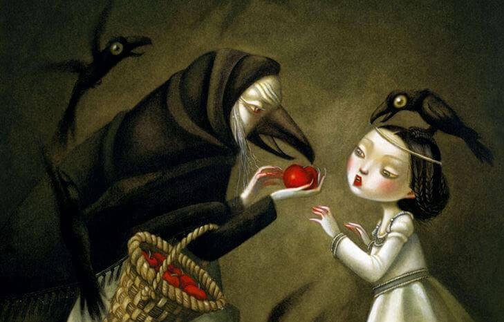 Bruja dándole la manzana roja a blancanieves simbolizando a la gente malvada