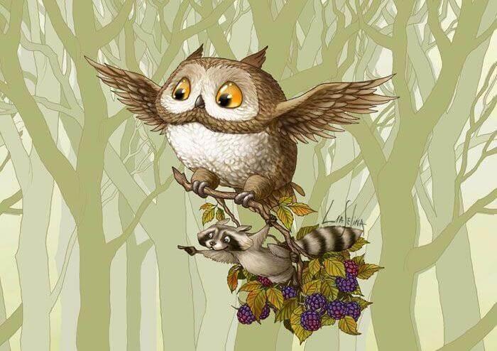Búho con un mapache sobre unas ramas