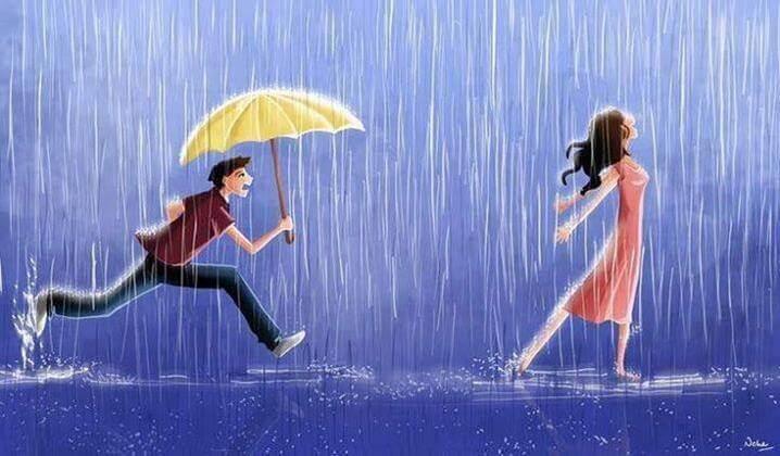 Hombre con un paraguas corriendo detrás de su chica