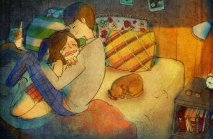 Hombre consolando a su chica