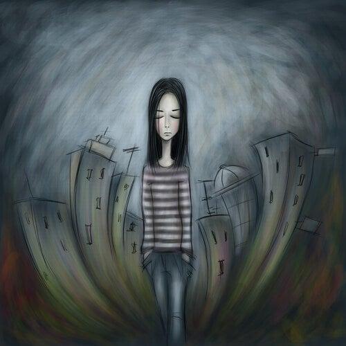 Chica adolescente triste con los ojos cerrados y camiseta de rayas