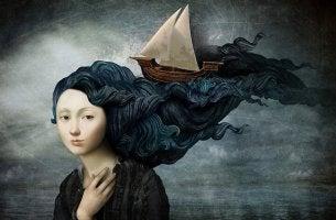 Mujer con barco en el pelo