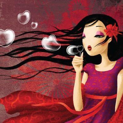 Mujer burbujas con corazón