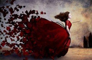 Mujer con flecha en el corazón
