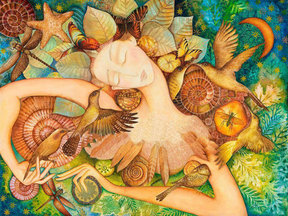 Mujer con pájaros y flores