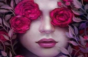 Mujer rostro con mariposas
